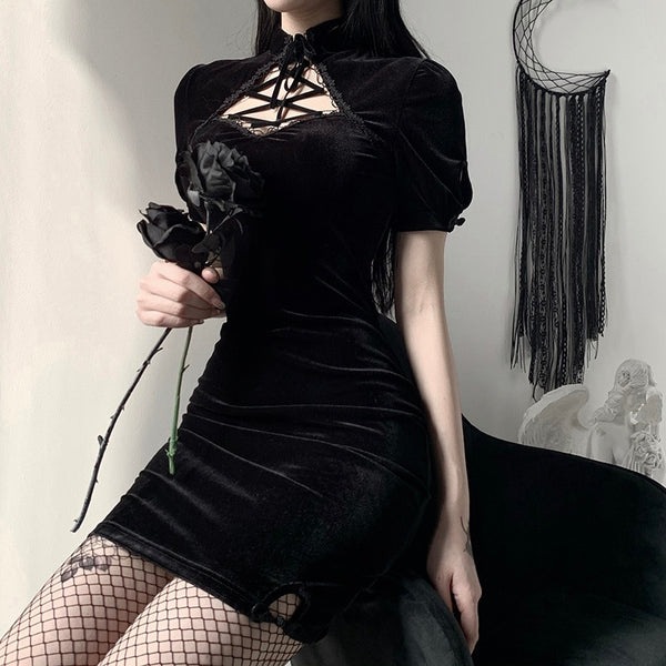 Velvet Elegant Dress - Let's Be Gothic, nightwear, clothing, punk, dark