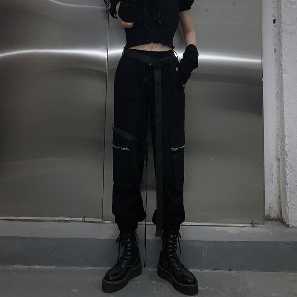 Street Cargo Pants With Belt - Let's Be Gothic, nightwear, clothing, punk, dark