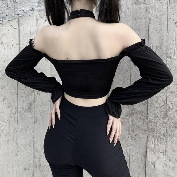 Streetwear Off Shoulder Gothic Top