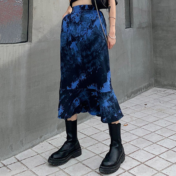 Tie Dye Goth Long Skirt
