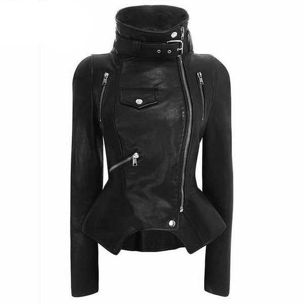 Leather Black Zipper Outerwear Jacket - Let's Be Gothic, nightwear, clothing, punk, dark