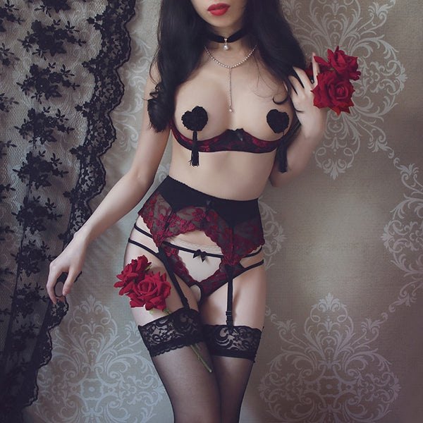 Temptation Lingerie Set - Let's Be Gothic, nightwear, clothing, punk, dark