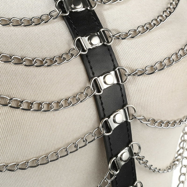 Goth Chain Harness - Let's Be Gothic, nightwear, clothing, punk, dark