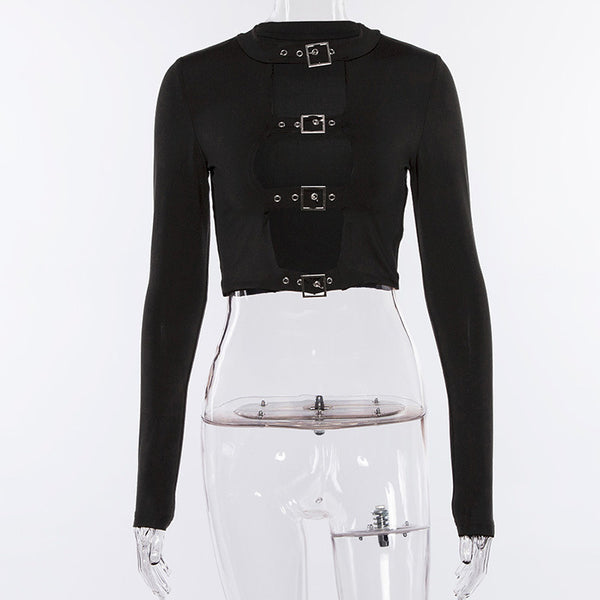 Sexy Buckle Front Top - Let's Be Gothic, nightwear, clothing, punk, dark