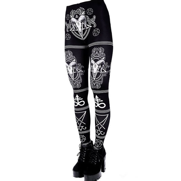 Satanic Goth Leggings - Let's Be Gothic, nightwear, clothing, punk, dark