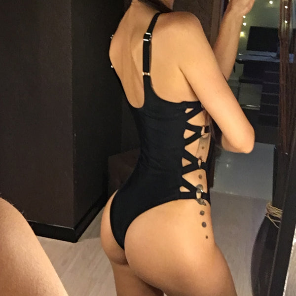 Cut Out Sexy One Piece - Let's Be Gothic, nightwear, clothing, punk, dark