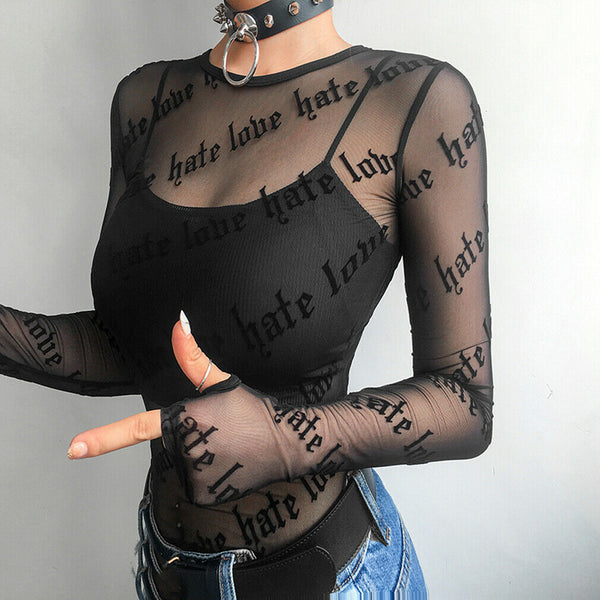 Love Hate Mesh Shirt - Let's Be Gothic, nightwear, clothing, punk, dark