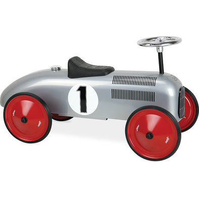 Silver Vintage Ride Along Car - Retro Kids