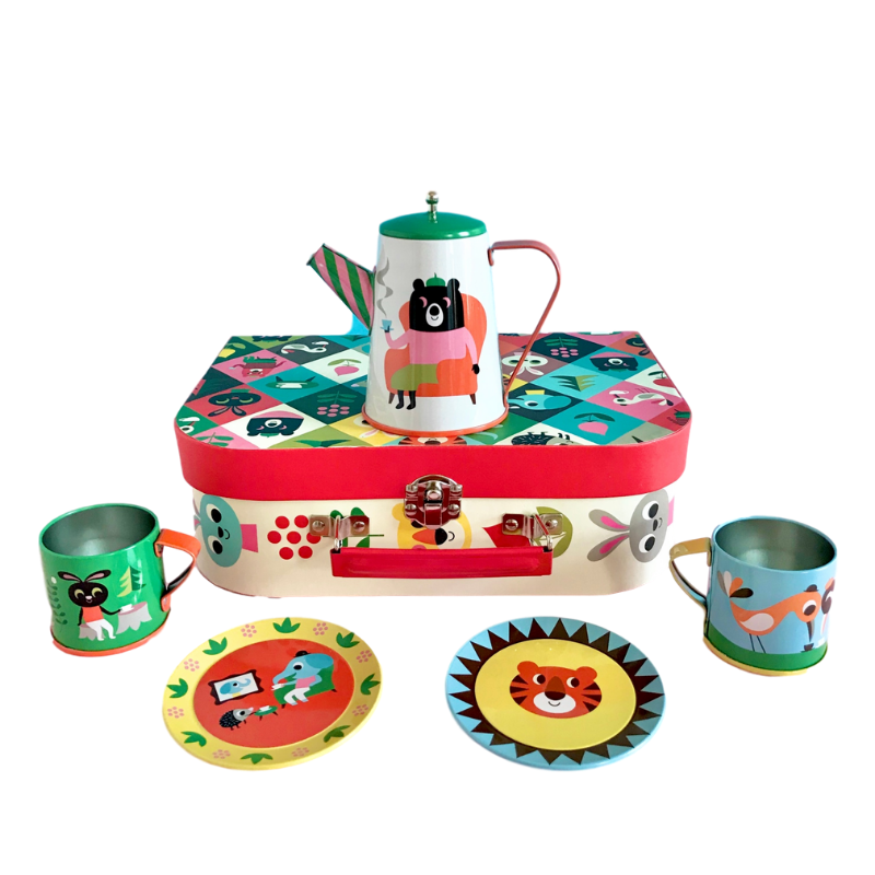 Animal Tin Tea Set & Suitcase - Retro Kids