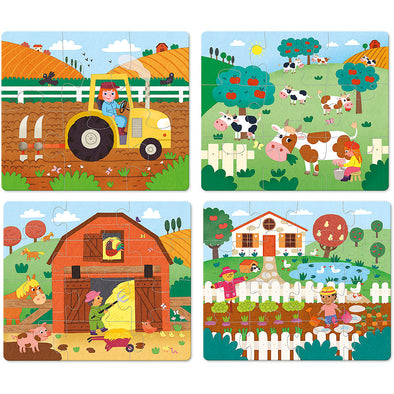 Farm Wooden Jigsaw Puzzles Set of 4 - Retro Kids