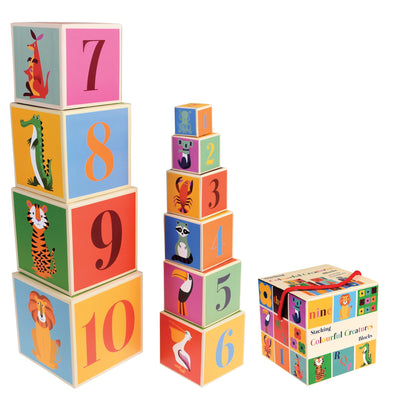Colourful Creatures Set of 10 Stacking Blocks - Retro Kids