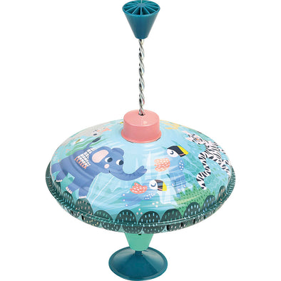 Large Tin Jungle Spinning Top - Retro Kids