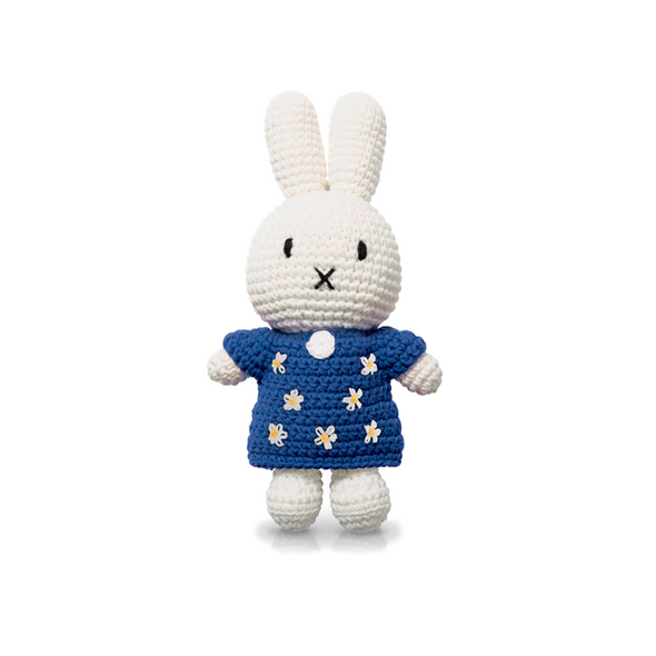 Miffy Knitted Crochet Toy Doll in Blue Floral Dress by Just Dutch