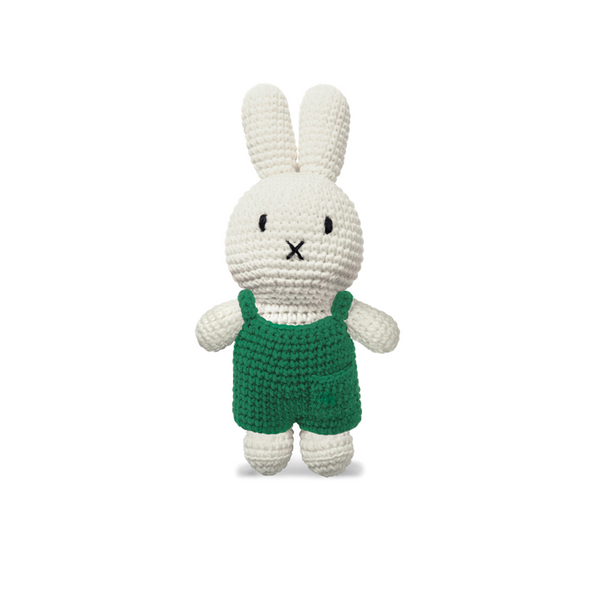 Miffy Knitted Crochet Toy Doll in Green Dungarees by Just Dutch