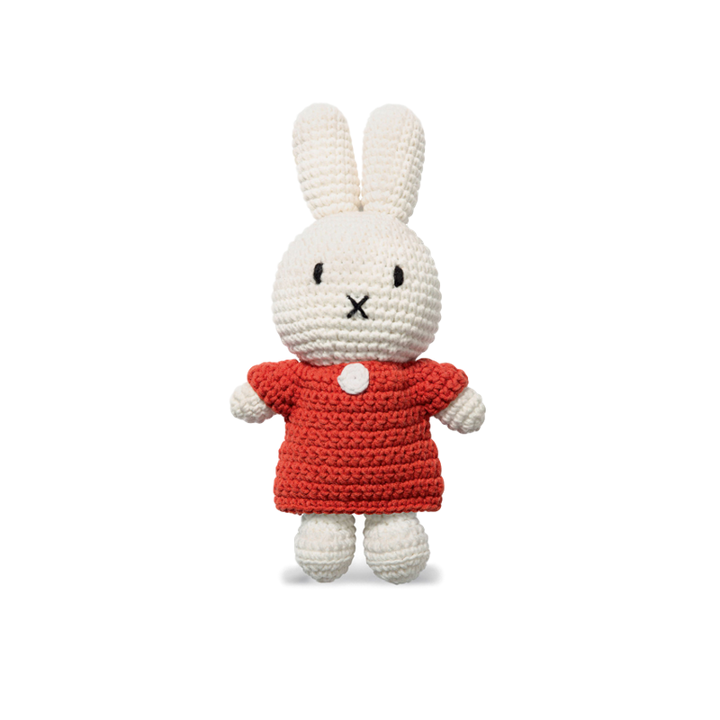 Miffy Knitted Toy Doll in Red Dress - Retro Kids