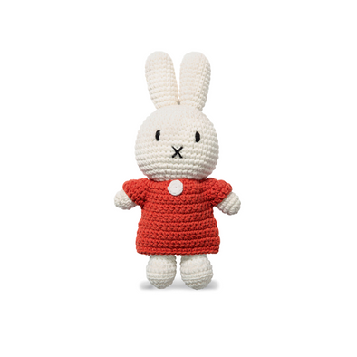 Miffy Knitted Crochet Toy Doll in Red Dress by Just Dutch
