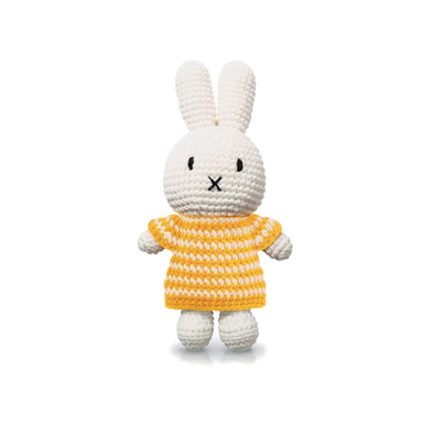 Miffy Knitted Crochet Toy Doll in Yellow Stripe Dress by Just Dutch