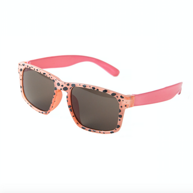 Retro Coral Cheetah Print Kids Sunglasses