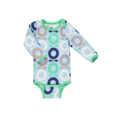 Long Sleeve Blue / Green Apple Babygrow
