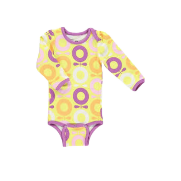 Long Sleeve Purple / Yellow Apple Babygrow
