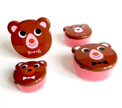 Brown Bear Snack Box set of 4 - Retro Kids