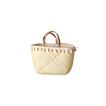 Raffia Basket with Pom Poms