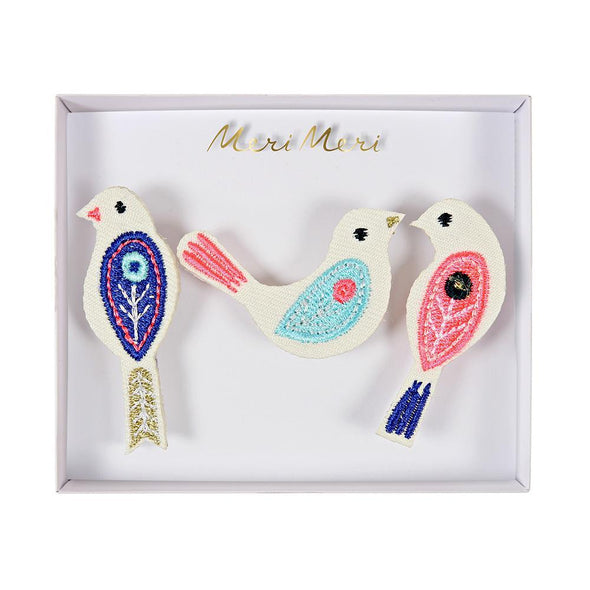 Birds Embroidered Brooches - Retro Kids