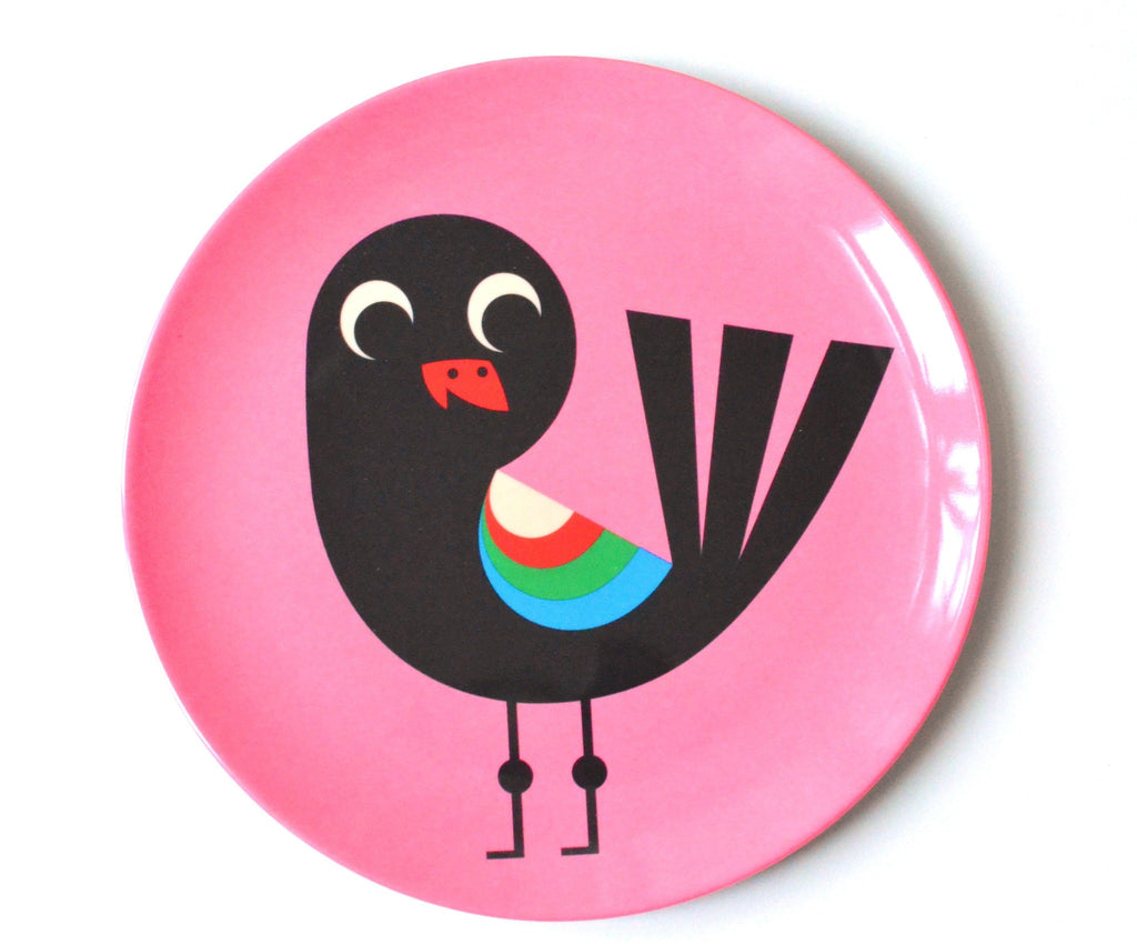 Bird on Pink Plate - Retro Kids