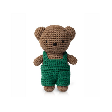Boris Knitted Toy Doll in Green Dungarees