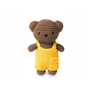 Boris Knitted Toy Doll in Yellow Dungarees