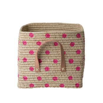 Raffia Square Basket with Pink Dots - Rice