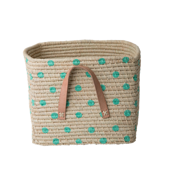 Raffia Square Basket with Green Dots - Rice