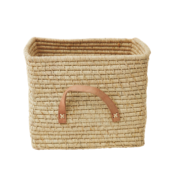 Raffia Square Basket with Leather Handles - Rice
