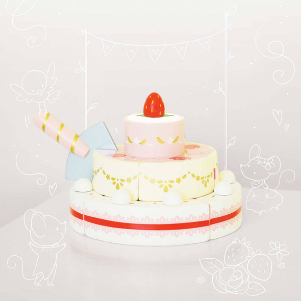 Strawberry Wedding Cake Wooden Toy