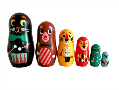 Mini Animal Carnival Nesting Dolls