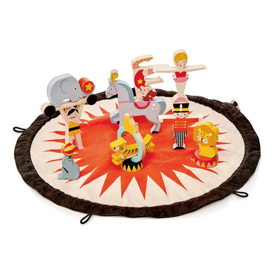 Circus Stacker Wooden Toy Play Set & Mat