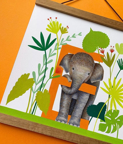 E for Elephant Alphabet Print