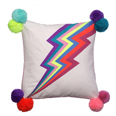 Lightning Bolt Pom Pom Cushion
