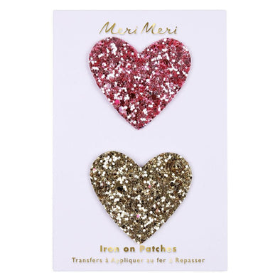 Glitter Heart Iron on Patches - Retro Kids