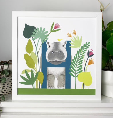 H for Hippo Alphabet Print