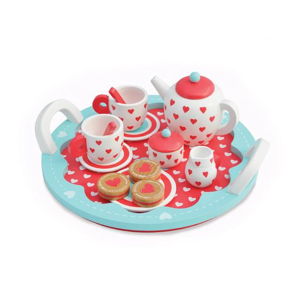 Hearts Wooden Toy Tea Party Set - Retro Kids