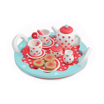 Hearts Wooden Toy Tea Party Set