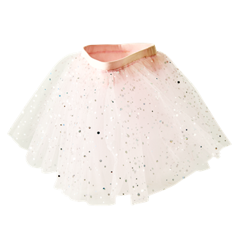 Kids Pink Tulle Dotted Skirt - Rice