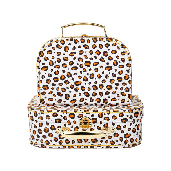 Set of 2 Leopard Print Suitcases