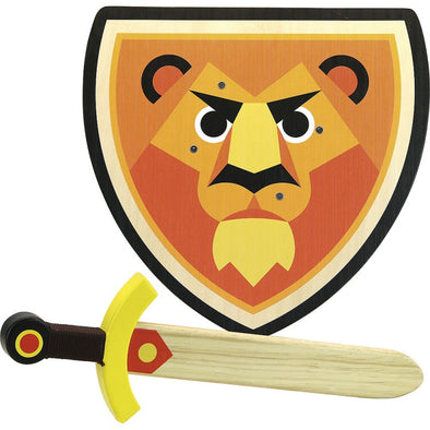 Lion Wooden Shield & Sword Toy Set - Retro Kids