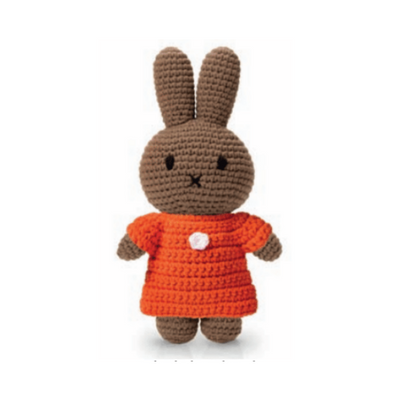 Melanie Knitted Toy Doll in Orange Dress