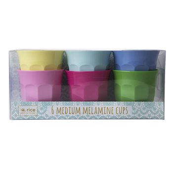 Melamine Cups Pack of 6 in Brights  - Rice