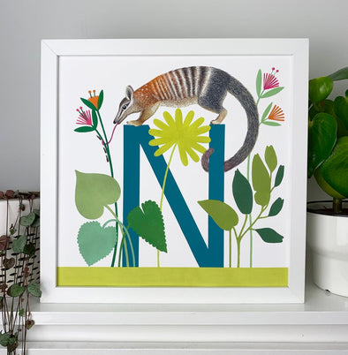 N for Numbat Alphabet Print