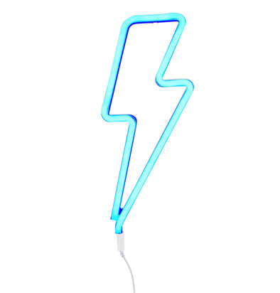Neon Blue Lightning Bolt Light - Retro Kids
