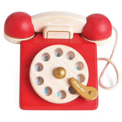 Red Retro Phone Wooden Toy